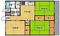 福岡県福岡市西区内浜1の賃貸マンションの間取り