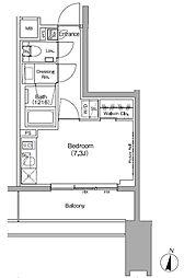 ザ・パークハビオ代々木初台 6階ワンルームの間取り