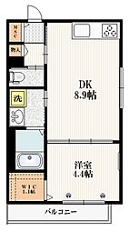 JR埼京線 赤羽駅 徒歩15分の賃貸マンション 3階1DKの間取り