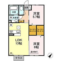 神奈川県綾瀬市吉岡東5丁目の賃貸アパートの間取り