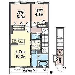 仮)いずみ野SHM 2階2LDKの間取り