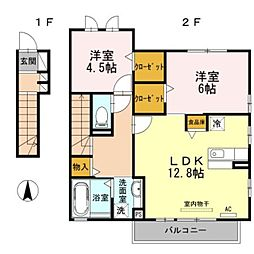 愛知県豊橋市東岩田2丁目の賃貸アパートの間取り