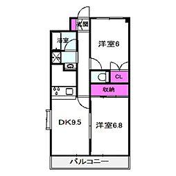 サンシャイン田中 2階2DKの間取り