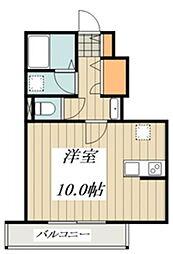ベルフォーレ小金井公園(仮) 2階ワンルームの間取り