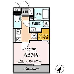 小田急江ノ島線 相模大野駅 徒歩11分の賃貸アパート 1階1Kの間取り