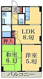 千葉県市原市ちはら台東3丁目の賃貸マンションの間取り