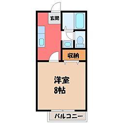 栃木県小山市駅南町1丁目の賃貸アパートの間取り