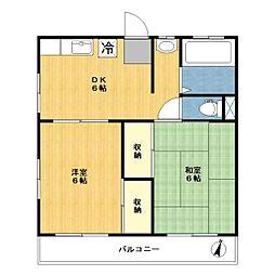 神奈川県川崎市宮前区東有馬3丁目の賃貸アパートの間取り