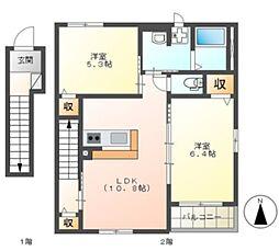 千葉都市モノレール 作草部駅 徒歩15分の賃貸アパート 2階2LDKの間取り