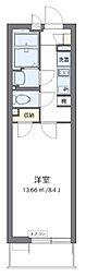 西武新宿線 新所沢駅 徒歩9分の賃貸マンション 2階1Kの間取り