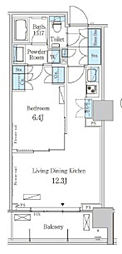 JR山手線 五反田駅 徒歩3分の賃貸マンション 2階1LDKの間取り
