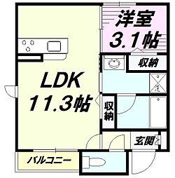 JR中央線 八王子駅 徒歩5分の賃貸アパート 1階1LDKの間取り