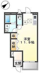 京王線 平山城址公園駅 徒歩1分の賃貸アパート 1階ワンルームの間取り