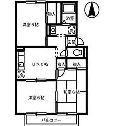 オークス金子A棟[2階]の間取り