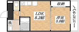JR関西本線 平野駅 徒歩10分の賃貸アパート 1階1LDKの間取り