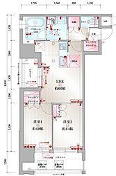 JR鹿児島本線 吉塚駅 徒歩10分の賃貸マンション 7階2LDKの間取り