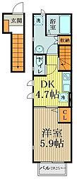 西武国分寺線 鷹の台駅 徒歩16分の賃貸アパート 2階1DKの間取り