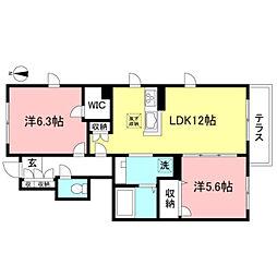 Gran Rooms深大寺 1階2LDKの間取り