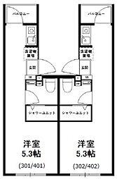 西武新宿線 野方駅 徒歩9分の賃貸マンション 4階ワンルームの間取り
