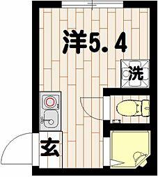 神奈川県横浜市鶴見区鶴見中央3丁目の賃貸アパートの間取り