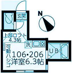 神奈川県横浜市神奈川区神奈川2丁目の賃貸アパートの間取り