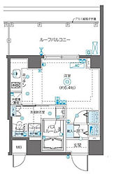 JR総武線 飯田橋駅 徒歩9分の賃貸マンション 4階ワンルームの間取り