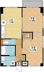長崎県長崎市愛宕3丁目の賃貸マンションの間取り