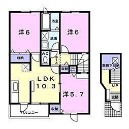 愛知県豊川市小田渕町2丁目の賃貸アパートの間取り