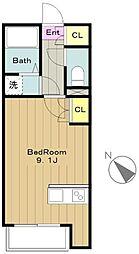 京王線 聖蹟桜ヶ丘駅 徒歩20分の賃貸アパート 2階ワンルームの間取り