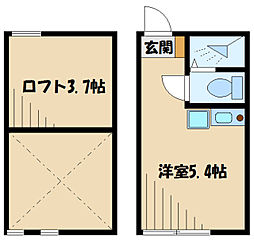 フェリーチェ生田 2階ワンルームの間取り