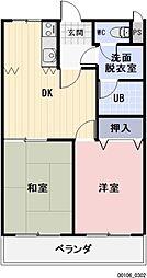 愛知県岩倉市東町東市場屋敷の賃貸マンションの間取り