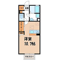 D‐room思川マロン G 1階ワンルームの間取り