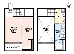 Jeunesse新守山(ジュネスシンモリヤマ) 2階1Kの間取り