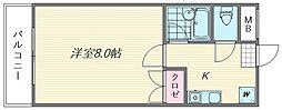 パピヨン箱崎[108号室]の間取り
