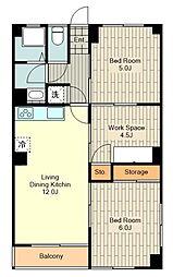 第2村上ビル 3階2SLDKの間取り