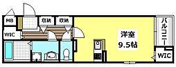 阪急京都本線 南茨木駅 徒歩16分の賃貸マンション 4階ワンルームの間取り