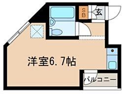 ES-V 1階ワンルームの間取り