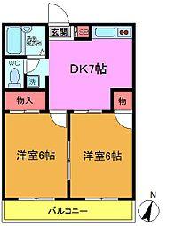 パールマンション(本中山)[302号室]の間取り