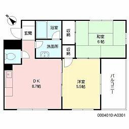 福岡県福岡市中央区大宮2丁目の賃貸アパートの間取り