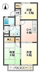 愛知県みよし市福谷町小宮の賃貸アパートの間取り