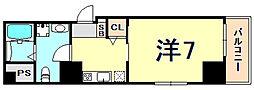 アルファ神戸元町 7階1Kの間取り