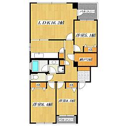 グランドコートB棟[2階]の間取り