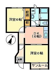 フラワードリームA・B[A104号室]の間取り