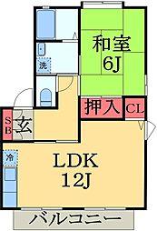 千葉県千葉市緑区おゆみ野南3丁目の賃貸アパートの間取り