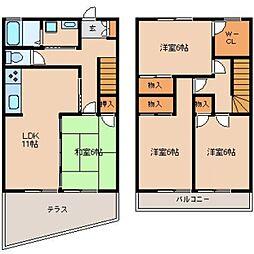 [タウンハウス] 福岡県太宰府市吉松2丁目 の賃貸【/】の間取り