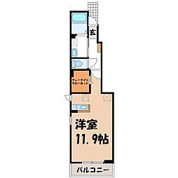 栃木県真岡市並木町3の賃貸アパートの間取り