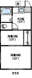 神奈川県横浜市青葉区梅が丘の賃貸アパートの間取り