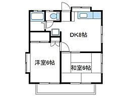 神奈川県海老名市上今泉6の賃貸アパートの間取り