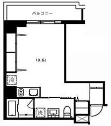 広尾ウエスト 4階ワンルームの間取り