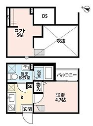 埼玉県さいたま市北区宮原町2丁目の賃貸アパートの間取り